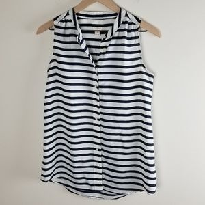 J. Crew Factory Printed Striped Draped Tank